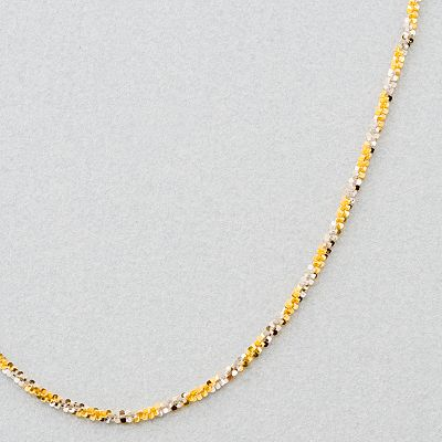 14k Gold Two Tone Sparkle Chain Necklace