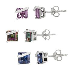 Genuine or Lab-Created Gemstone Sterling Silver Stud Earrings
