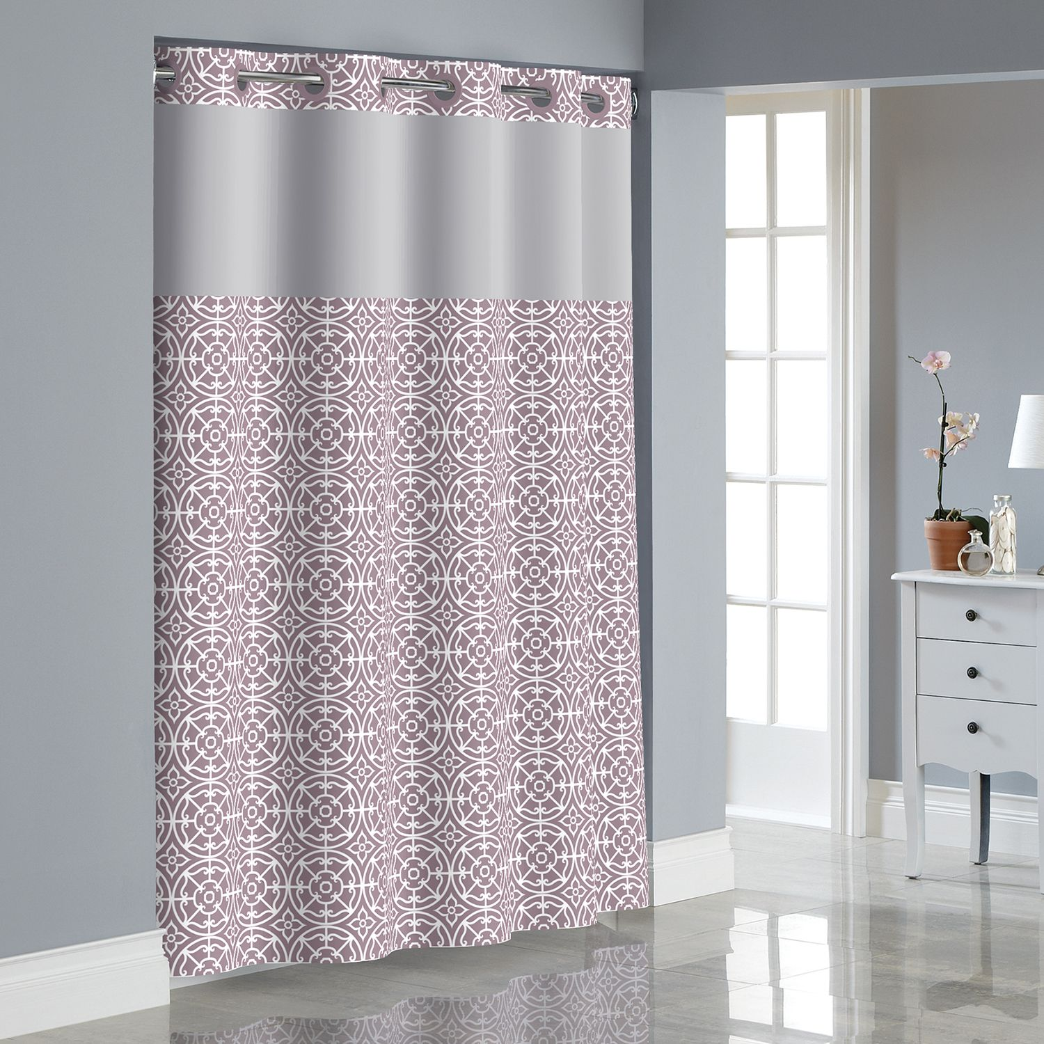 Hookless Medallion Shower Curtain With Liner. Lavender Blue Yellow