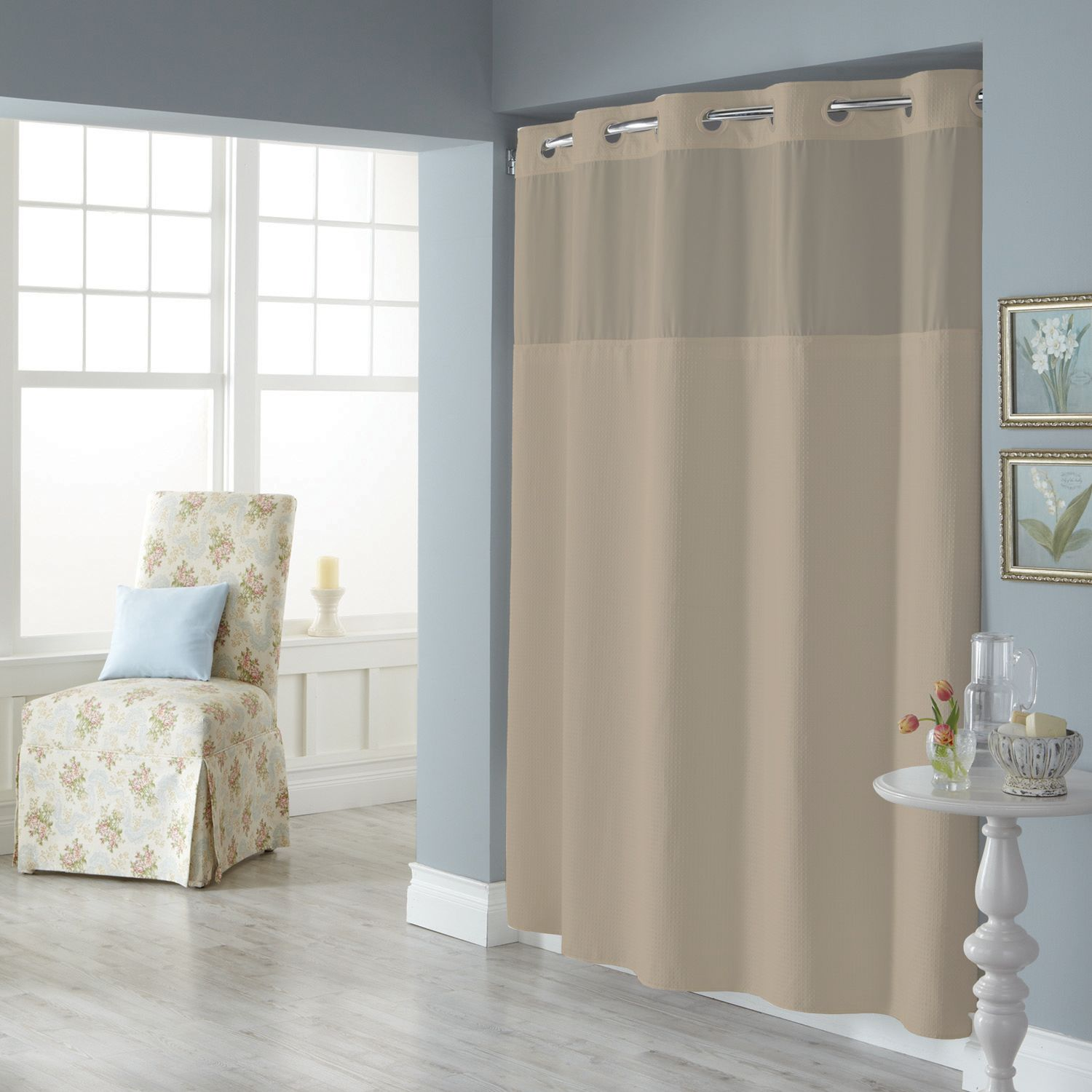 dobby pique mystery hookless white fabric shower curtain collection