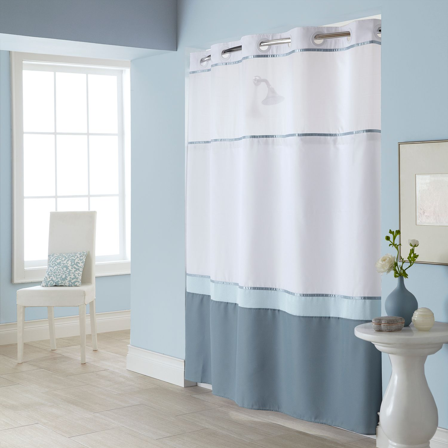 Fabric Shower Curtain U0026 Liner Set. Blue