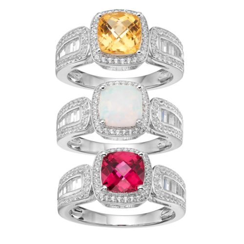 Sterling Silver Gemstone & Lab-Created White Sapphire Halo Ring