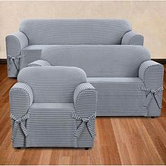 Sure Fit Horizontal Club Stripe Furniture Cover Collection