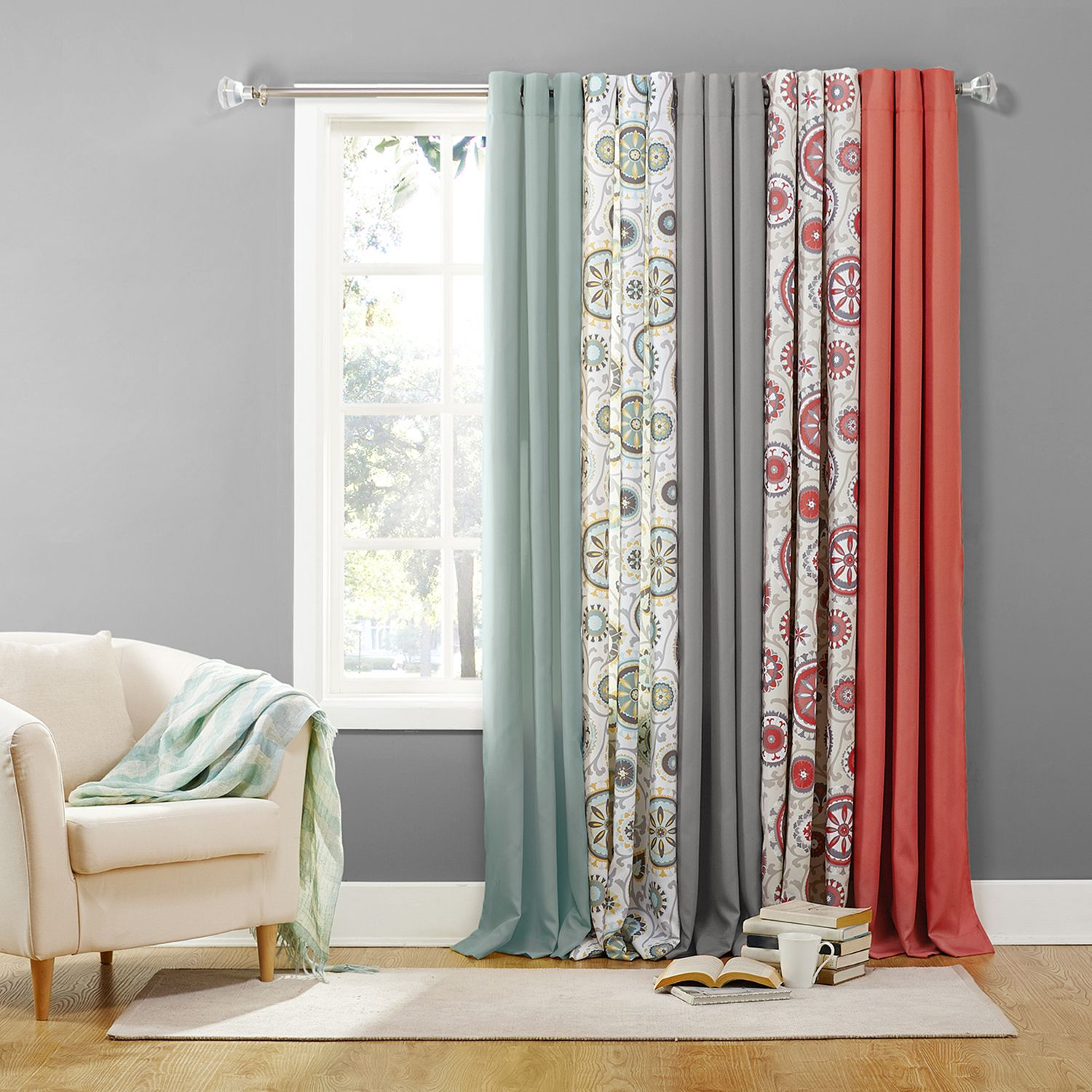 The Big One® 2 Pack Solid Coral Window Curtain Collection