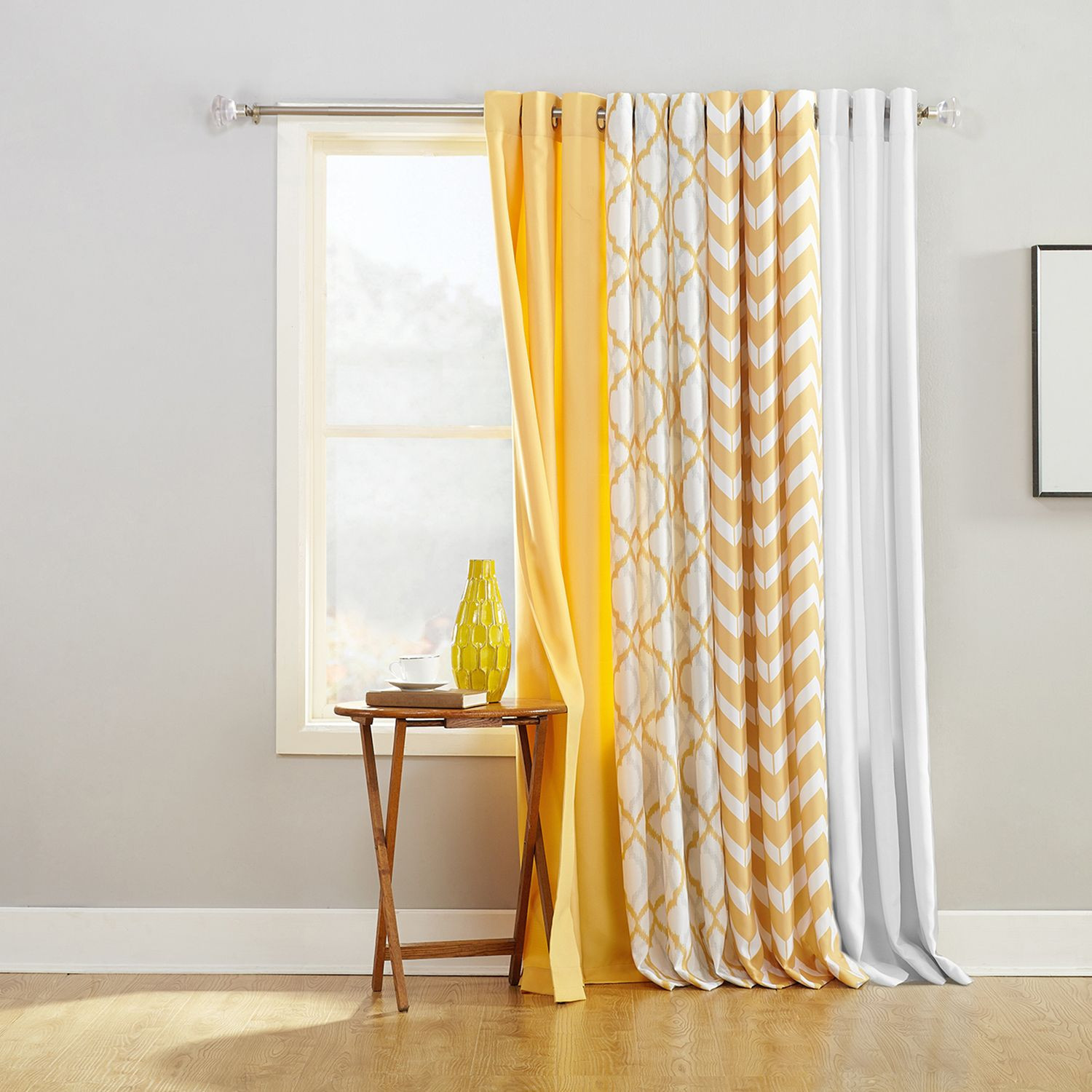 Charming The Big One® Solid White Window Treatments  Mustard Yellow Curtains