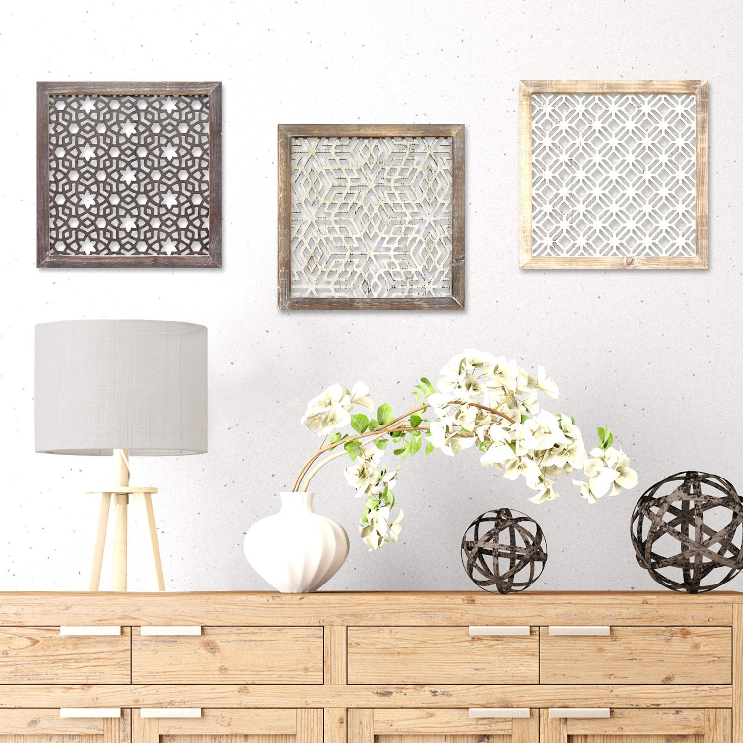 home decor distressed laser cut geometric wall decor