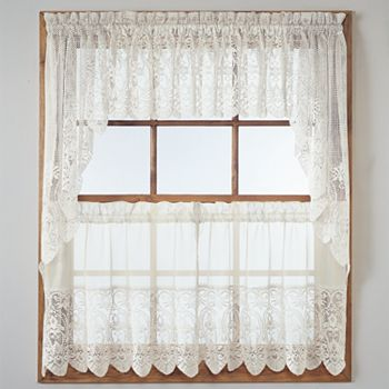 United Curtain Co Rochelle Lace Swag Tier Kitchen Curtains