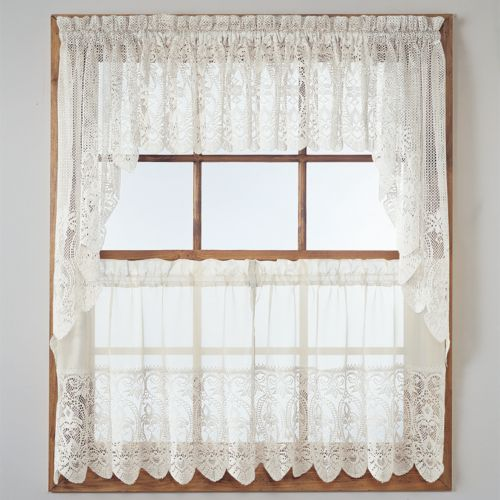 No918 Joy Lace Swag Tier Kitchen Curtains