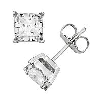 Diamond 10k White Gold Stud Earrings