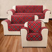 Sure Fit Flair Tartan Plaid Furniture Cover Collection