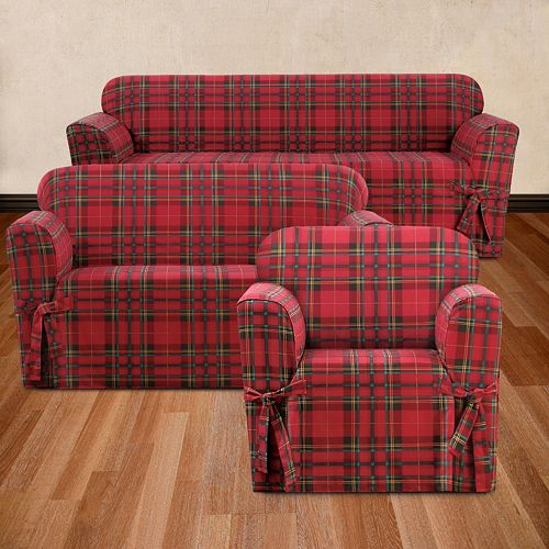 Pleasing Sure Fit Highland Plaid Furniture Cover Collection Machost Co Dining Chair Design Ideas Machostcouk