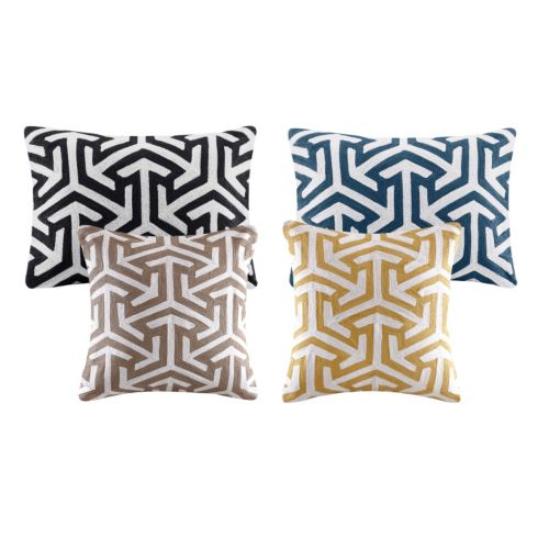 Madison Park Crewel Embroidered Geo Throw Pillow Collection