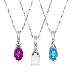 Sterling Silver Gemstone & Diamond Accent Oval Pendant