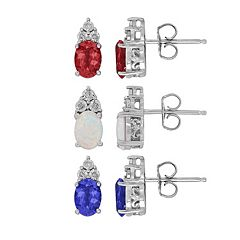 Sterling Silver Gemstone & Diamond Accent Oval Stud Earrings