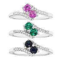 Sterling Silver Gemstone Two Stone & Diamond Accent Bypass Ring Collection