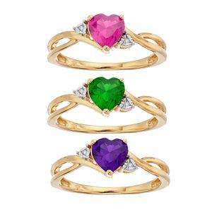 10k Gold Gemstone & Diamond Accent Swirl Heart Ring