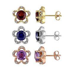 10k Gold Gemstone & Diamond Accent Flower Stud Earrings