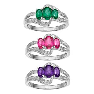 Sterling Silver Gemstone 3-Stone Bypass Ring