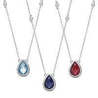 Sterling Silver Gemstone & White Topaz Teardrop Necklace