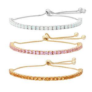 Sterling Silver Gemstone Lariat Bracelet