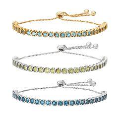Sterling Silver Gemstone S-Link Lariat Bracelet