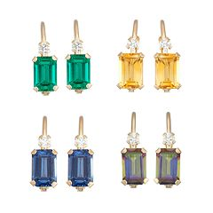 10k Gold Emerald-Cut Gemstone & White Zircon Hoop Earrings