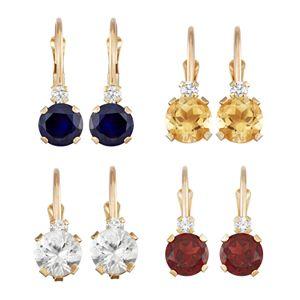 10k Gold Round-Cut Gemstone & White Zircon Hoop Earrings
