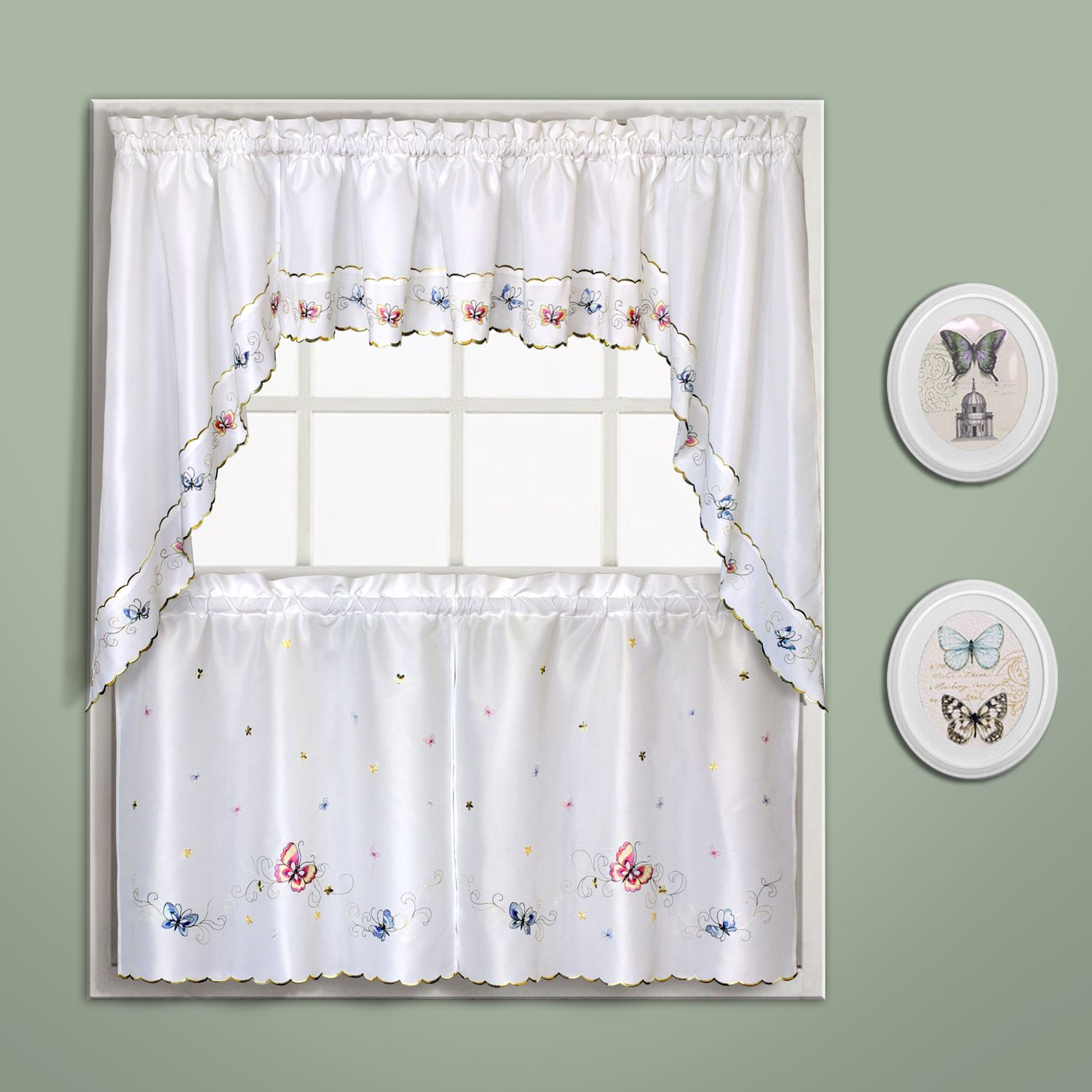 Charmant Butterfly Swag Tier Kitchen Window Curtains