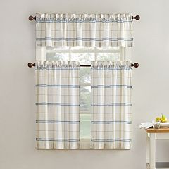 Top of the Window Monroe Plaid Light Filtering Tier Kitchen Window Curtains