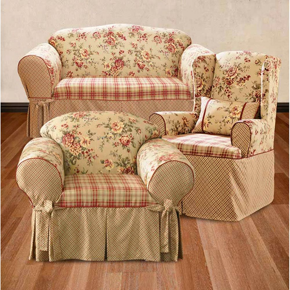 Awesome Sure Fit Lexington Floral Slipcovers Ncnpc Chair Design For Home Ncnpcorg
