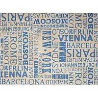 Waverly Sun N' Shade Printed City Words Indoor Outdoor Rug Collection