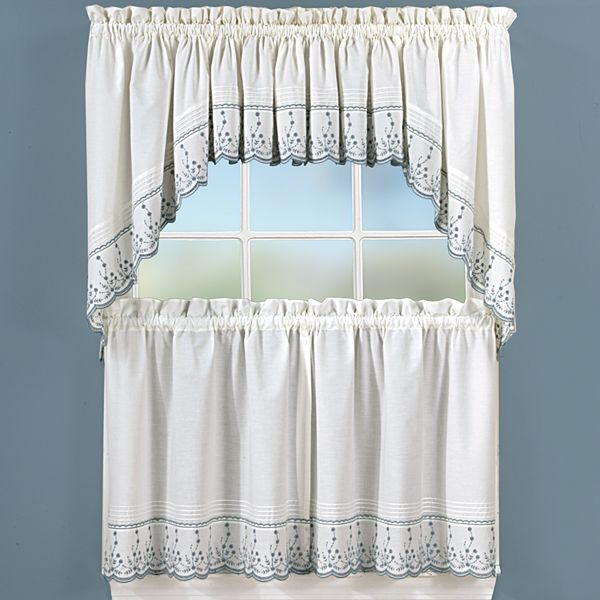 Abby Floral Tier Swag Kitchen Window Curtains
