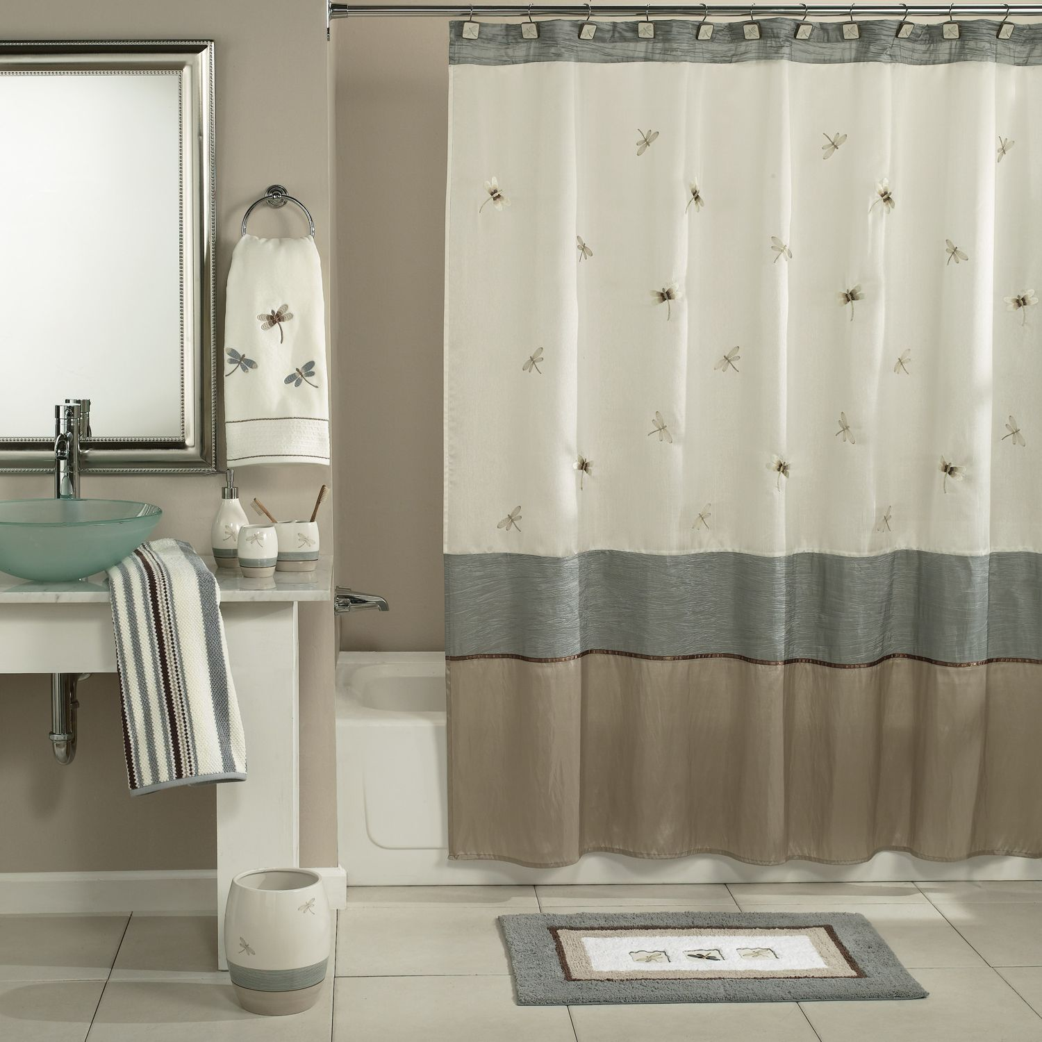 home classics shalimar dragonfly shower curtain collection