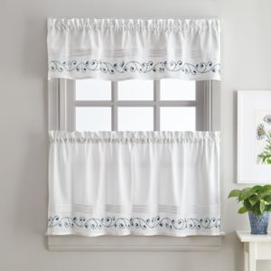 Key Largo Embroidered Kitchen Window Treatment Collection