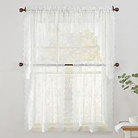 No918 Alison Floral Lace Sheer Kitchen Window Treatment Collection