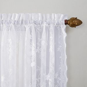 No918 Alison Floral Lace Sheer Swag Tier Kitchen Window Curtains