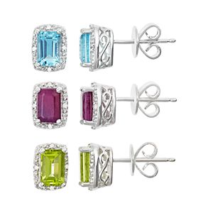 Sterling Silver Gemstone & Diamond Accent Rectangle Halo Stud Earrings