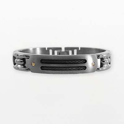 STI by Spectore 18k Gold and Gray Titanium Cable Bracelet