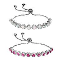 Sterling Silver Lab-Created Gemstone & Cubic Zirconia Bolo Bracelet