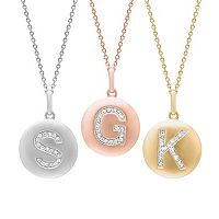 Diamond Accent Initial Pendant Necklace