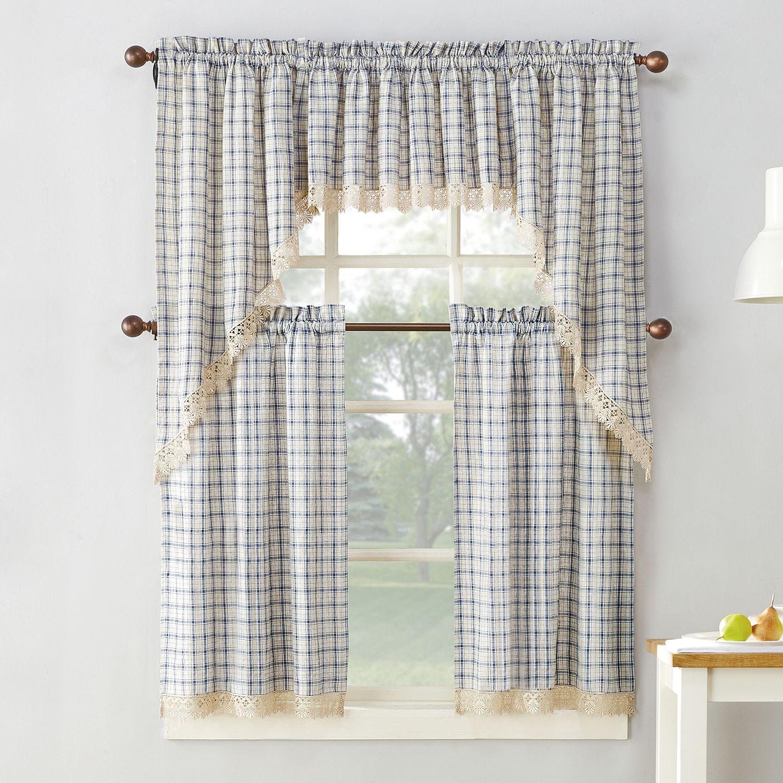 No918 Maisie Plaid Kitchen Window Curtains