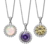 Sophie Miller Gemstone & Cubic Zirconia Sterling Silver Halo Pendant Necklace