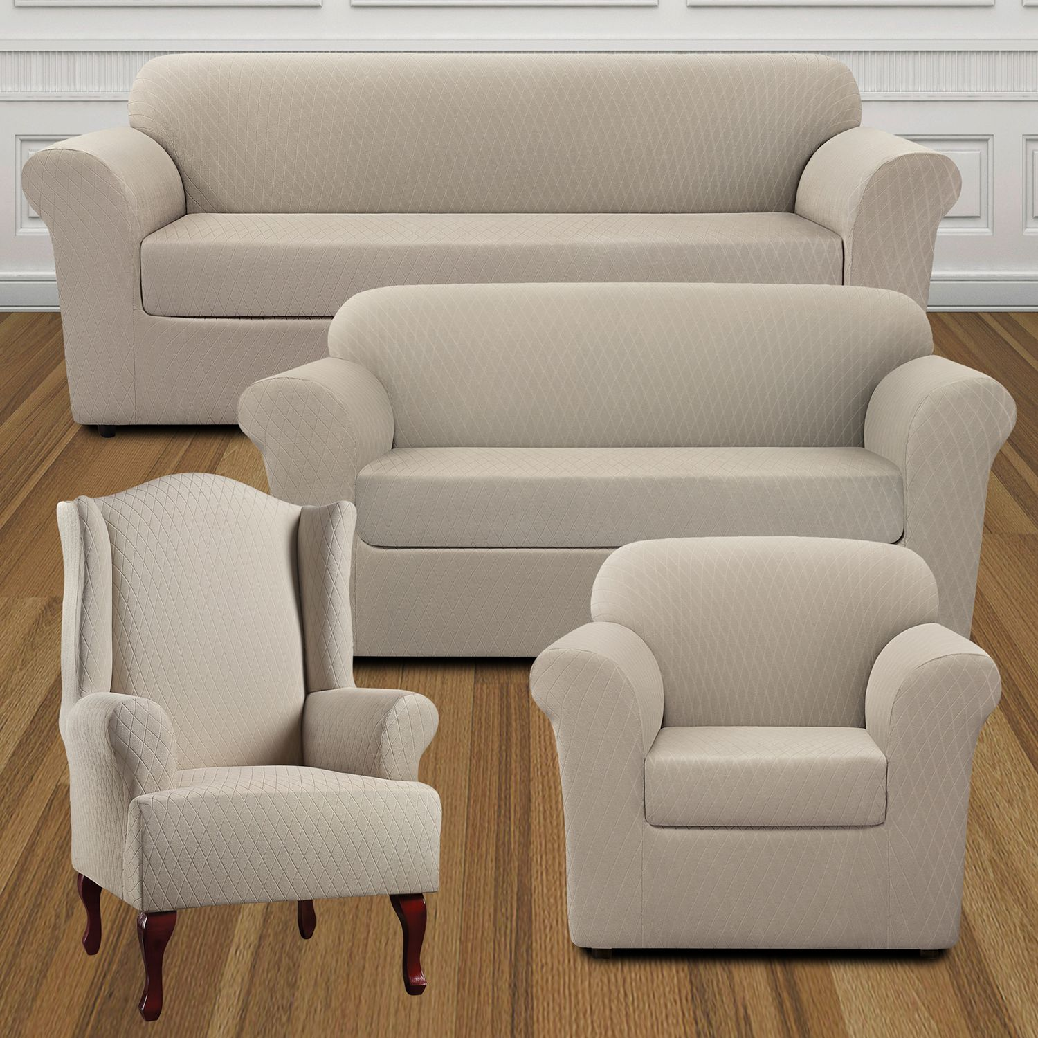 sure fit stretch lattice slipcover collection
