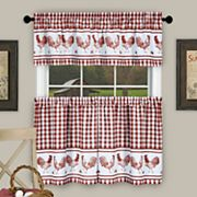 Achim Barnyard Rooster Plaid Kitchen Window Curtains