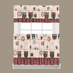 Saturday Knight, Ltd. Spice Owl Tier Kitchen Window Curtains
