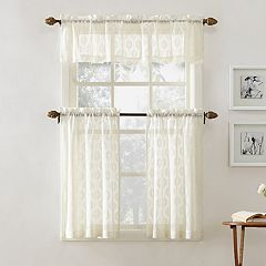 Top of the Window Ariel Medallion Tier Kitchen Window Curtains