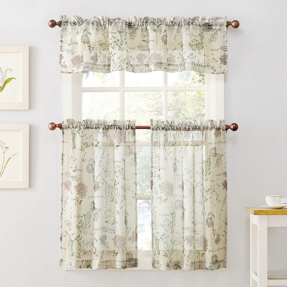 Wildflower Tier Kitchen Window Curtains