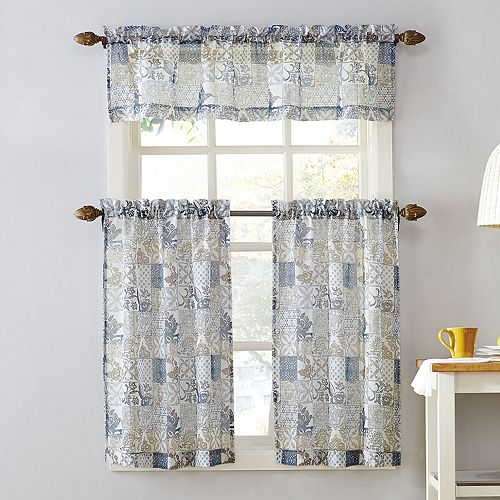 Top Of The Window Medallion Tile Print Tier Kitchen Curtains