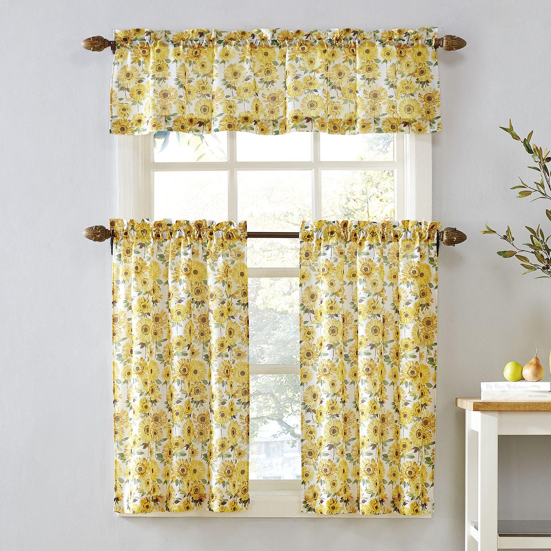 Top Of The Window Sunflower Tier Kitchen Window Curtains