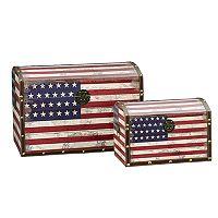 Household Essentials American Flag 2 pc Storage Trunk Set